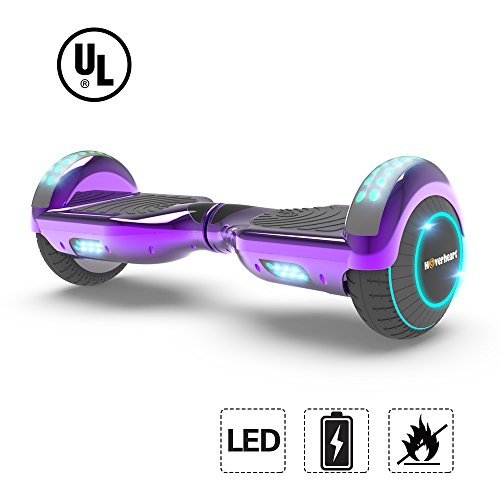 Hoverboard Lithium-Free Two-Wheel Self Balancing Electric Scooter UL 2272 Certified, Metallic Chrome LED Light (Chrome Purple)