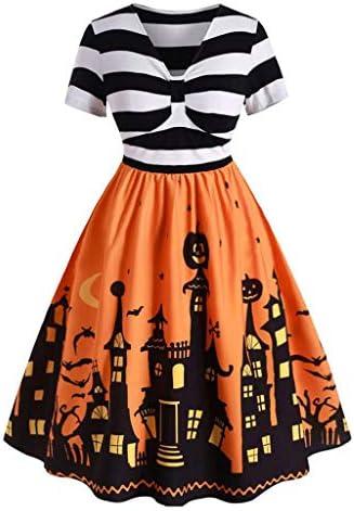 ハロウィン ワンピース コスプレ 仮装 大人 レディース 半袖 かぼちゃ デビル aライン ドレス 魔女 悪魔 レトロ フォーマ