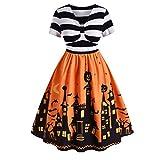 iLOOSKR Women Vintage Short Sleeve V Neck Halloween Housewife Print Knotted V Back Ball Gown Dress Knee-Length Yellow