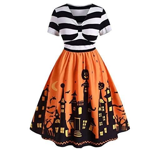 Women Halloween Short Sleeve Dress Pumpkin Printed Costume Skull Swing Dresses Casual Weeding Party Clothing(Yellow,Large)