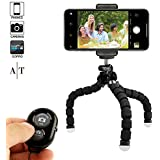 Phone Tripod, Portable and Adjustable Camera Stand Holder with Bluetooth Remote and Universal Clip for Any Smartphone, Cellphone, Phone, Android, Camera, GoPro | Flexible Mini iPhone Tripod