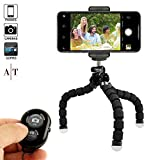 Phone Tripod - Portable Adjustable Camera Stand Holder Bluetooth Remote Universal Clip Any Smartphone - Cellphone - Phone - Android - Camera - GoPro | Flexible Mini iPhone Tripod