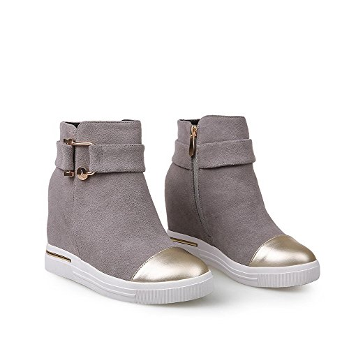 High Boots AmoonyFashion Toe Thread Toe Heels Closed Women's Round Wedge with Gray and E0rwzqX0