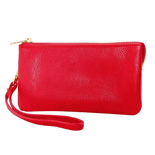 Humble Chic Vegan Leather Wristlet Wallet Clutch Bag - Small Phone Purse Handbag, Red