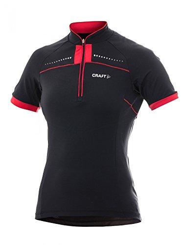 Craft Sportswear Active Bike Cycling Jersey Women (Medium, Black with Red)