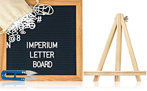 Felt letter board set by Imperium Innovations (10x10 Black) [335 Changeable White Letters, Numbers, Emoji, Symbols, Quality Oak Stand, Bag, Scissors] Premium Message Board Sign - display your thoughts by Imperium Letter Board