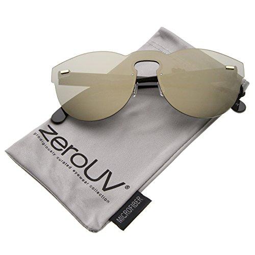 zeroUV - Futuristic Rimless Mono Flat Lens Horn Rimmed Shield Sunglasses 73mm (Black / Gold - Mono Lens