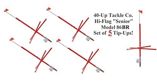 40-Up Tackle Hi-Flag ''Red Senior'' Tip Up Model 86BR Kit of 5 -USA MADE- by 40-Up Tackle Company