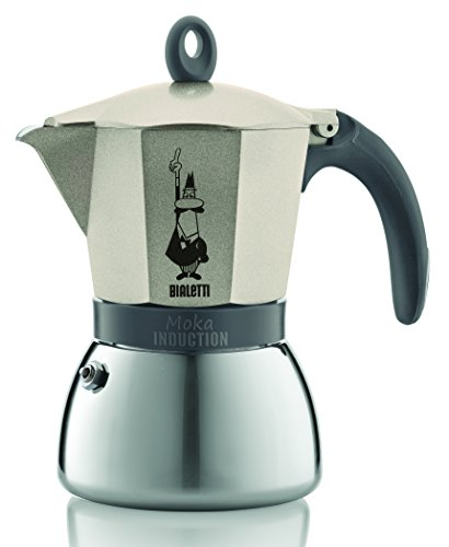 Bialetti 6 Cup Moka Induction Stove top Espresso Coffee Maker Pot in light gold