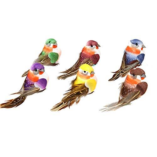 Feather Bird Ornaments - lwingflyer Artificial Simulation Foam Feather Bird, Mini Sparrow Ornaments DIY Craft for Wedding Decoration Party Accessories 9cm/3.54inch (6pcs-Metal Clip)