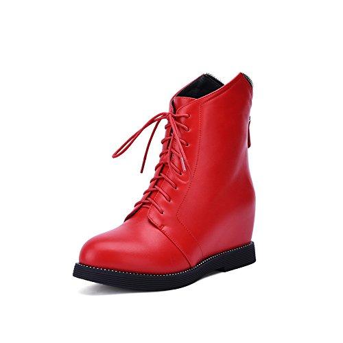 Heighten Red Microfiber BalaMasa Inside Zipper Platform Ladies Boots 7wv4q5g