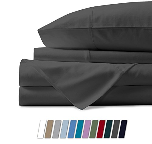 Mayfair Linen 100% Egyptian Cotton Sheets, Dark Grey King