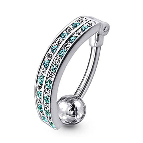 (Light Blue Gemstone Fancy Curved Style Reverse Bar 925 Sterling Silver with Stainless Steel Belly Button Navel)