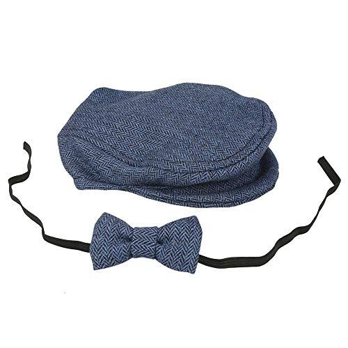Fdit Newborn Baby Boys Photography Cap Hat Bow Tie Props Costume Clothing Headdress Accessories Elegant Gentleman Style (Deep Blue)]()