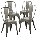 Duhome 4 PCS Stackable Metal Dining Chair Restaurant Cafe Kitchen Indoor Outdoor NO Assembly Require (Grey)