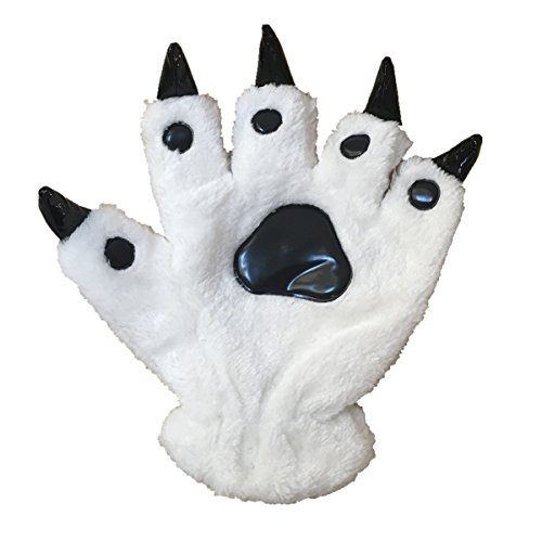 Unisex Bear Plush Paw Claw Gloves Soft Winter Mittens White