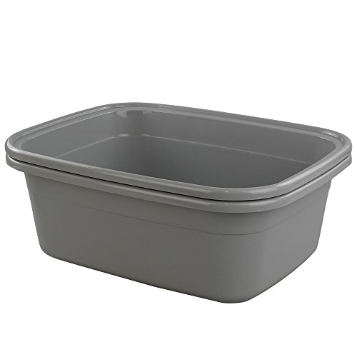 (Begale 16 Quart Rectangular Plastic Wash Basins/Basin Tub, Set of 2 (Gray))