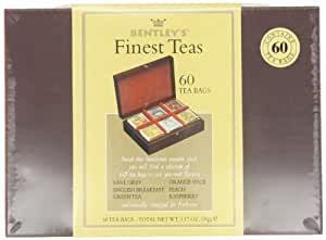 Bentley's Finest Teas Wood Grain Tea Chest, Variety Pack of 6 Flavors, Item # 10946, Tea Bags, 60 Count Box