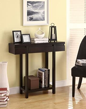 Genial Modern Styling Espresso Finish Wood Hall Table Sofa Console Entry Table  With Lower Shelf