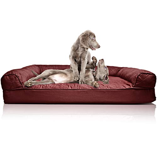 Furhaven Pet Dog Bed | Orthopedic Quilted Traditional Sofa-Style Living Room Couch Pet Bed w/ Removable Cover for Dogs & Cats, Wine Red, Jumbo