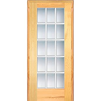 Marvelous National Door Company Z019961L Unfinished Pine Wood 15 Lite True Divided,  Beveled Clear Glass,