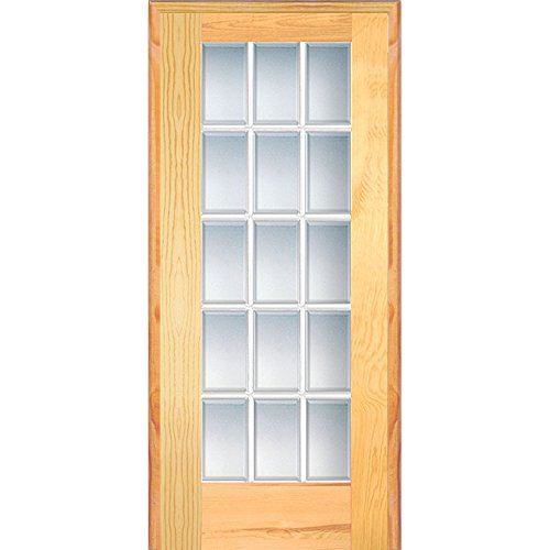 National Door Company Z019963R Unfinished Pine Wood 15 Lite True Divided, Beveled Clear Glass, Right Hand Prehung Interior Door, 30'' x 80'' by National Door Company