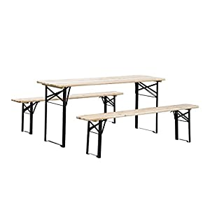 Outsunny 6ft Wooden Folding Picnic Table Set With Benches