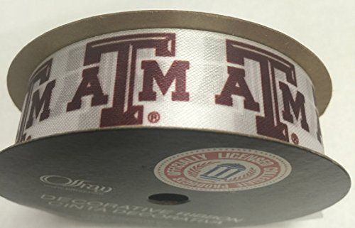 "Offray Texas A&M University Aggies Fabric, 7/8"" X 9FT Ribbon"