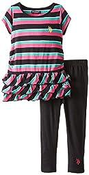 U.S. POLO ASSN. Little Girls\' Striped Tunic Tiered Ruffle Top and Leggings, Black, 6