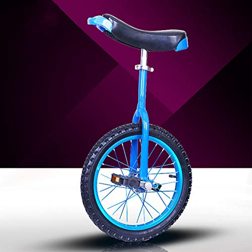 Seat Height Can Be Adjusted Freely Wheel Trainer Unicycle – 65° Round Corner Design Tire Balance Cycling – With Rubber Tires And High Quiet Bearing Wheel Trainer Unicycle – For Beginners 16 inch blue