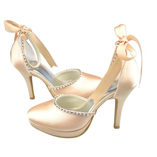 Minitoo Y017T Womens Stiletto High Heel Satin Evening Party Bridal Wedding Strappy Shoes Champagne-10cm Heel tIogN