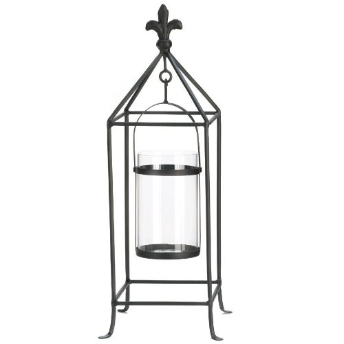 Fleur de Lis Swinging Candle Holder Stand - 19 inches (Lantern Candle Birdhouse)