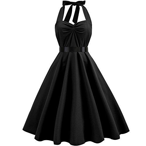 - HIRIRI Women Bow Knot Pleat Dresses Halter Swing Dress Semi Formal Gowns Belted Mini Midi Skirt Black