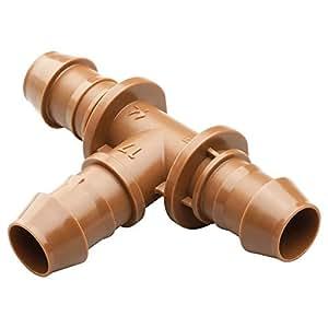 "Rain Bird BT50/4PKS Drip Irrigation Universal Barbed Tee Fitting, Fits All Sizes of 5/8"", 1/2"", .700"" Drip Tubing, 4-Pack"