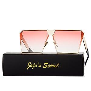 JOJO'S SECRET Oversized Square Sunglasses Metal Frame Flat Top Sunglasses JS009 (Gold/Transparent red, 2.48)