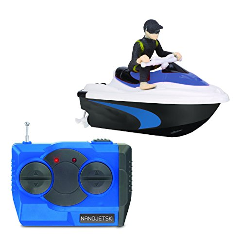 (RC Nano Jetski Toy Micro Remote Control Battery Operated Watercraft Wireless Precision 4-Button Twin Prop Control 50 Foot Range (Colors Vary) )