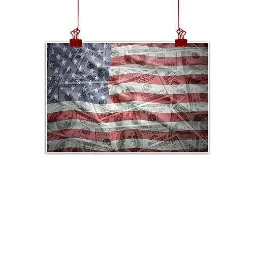 Sunset glow Wall Art Painting Print American Flag,American Dollar on Flag Money Currency Exchange Value Global Finance Idol,Multicolor 36