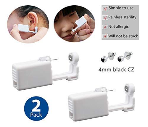 (Piercing Gun Ear Piercing Kit Nose Piercing Gun Disposable Safety Ear Piercing Gun Kit Tool 2 Pack (225 black CZ))