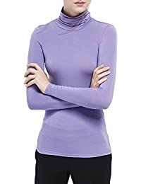 Womens Turtleneck Long Sleeve Basic T-Shirt Modal Soft Stretchy Top