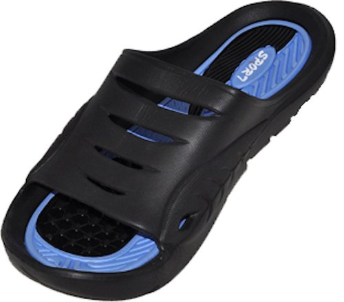 Gear One Cinco Men's Rubber Sandal Slipper Comfortable Shower Beach Shoe Slip On Flip Flop, Blue -
