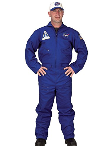 Blue NASA Flight Suit Costume Jumpsuit Air Force Pilot Mens Theatrical (Adult Nasa Flight Suit)