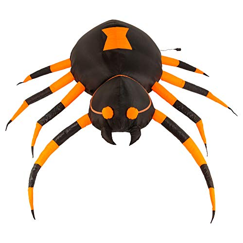 Halloween Haunters 6 Foot Inflatable Scary Black Widow Spider with LED Lights Indoor Outdoor Yard Lawn Prop Decoration - Blow Up Haunted House Party Display by Halloween Haunters