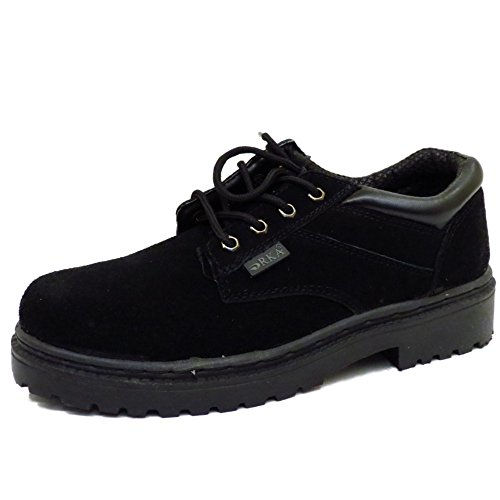 Mens Black Leather Lace-Up Ankle Work Hiking Casual Walking Shoes Sizes 6-10