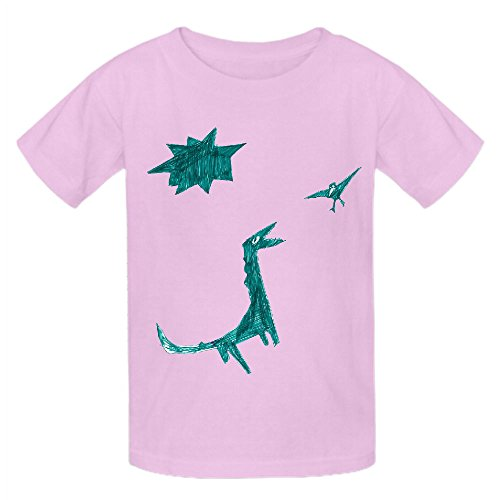 Dinosaur Green Teen Crew Neck Cotton T Shirt Pink