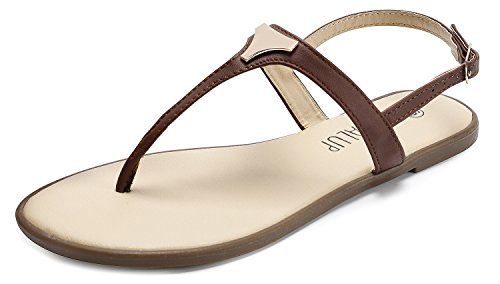 SANDALUP Women' s Gladiator Thong Sandals Flat Sandals Brown 10