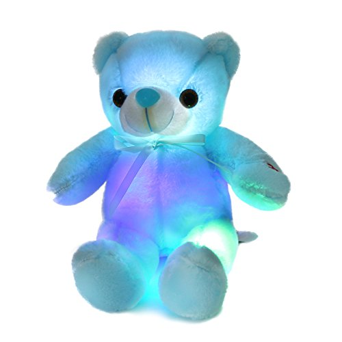 Houwsbaby Glow Teddy Bear with Bow-tie Stuffed Animal Light Up Plush Toys Gift for Kids Mother's Day, 12 inch (Blue)