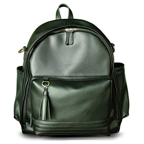 Diaper Bag Backpack by Simple Goods: Vegan Leather Organized Baby Bag with Sixteen Pockets and Stroller Straps (Black)