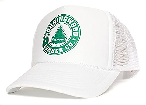 Morning Wood Lumber Co Established 7:45 AM Funny Unisex Adult One-Size Hat Cap Multi (White/White) - Woods Mesh
