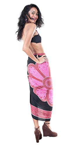 ba estampado o Sarong floral rosa mujer para Traje de con Lotus negro 1pwxE0wH