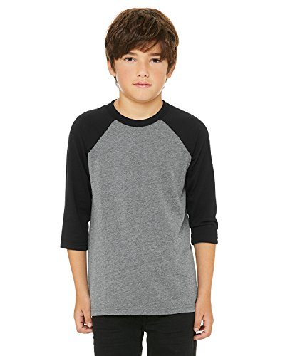 A Product of Bella + Canvas Youth 3/4-Sleeve Baseball T-Shirt -Bulk Discount Sa